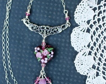 Necklace, Lampwork Bead Necklace, Handmade Pink Floral Heart Lampwork Bead, Heart Jewelry, Sterling Silver