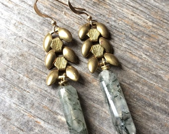 brass wheat chain and rutilated quartz crystal earrings