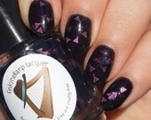 Kate Bishop (full size 15 ml) purple jelly with violet triangles indie polish by Fedoraharp Lacquer