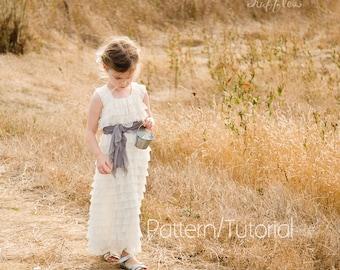 Instant Download Ruffle Fabric Dress Tutorial Girls Sizes 3 Months through 14 Flower Girl Dress Pattern