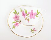 Vintage Taylor and Kent Teacup Saucer England Bone China Pink Lily Flowers Tea Party Floral Cup English Porcelain