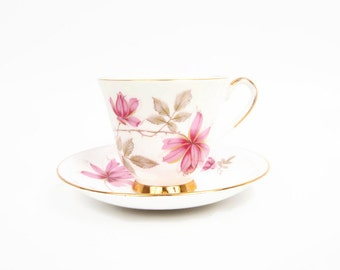 Vintage Old Royal Teacup Saucer Pink Wild Flower Made in England Fine Bone China Thick Gold Pedestal Cup Footed Tea Cup Wild Roses