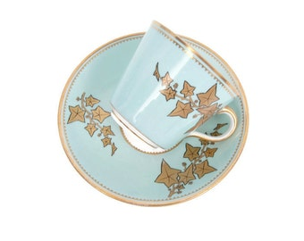 Vintage Mint Green Teacup and Saucer Gold Leaves Gilt Trim Tuscan China Tea Party