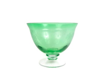Vintage Emerald Green Crystal Compote Etched Frosted Snowflakes Pedestal Bowl Green Glass Serving Dish Danish Modern Era