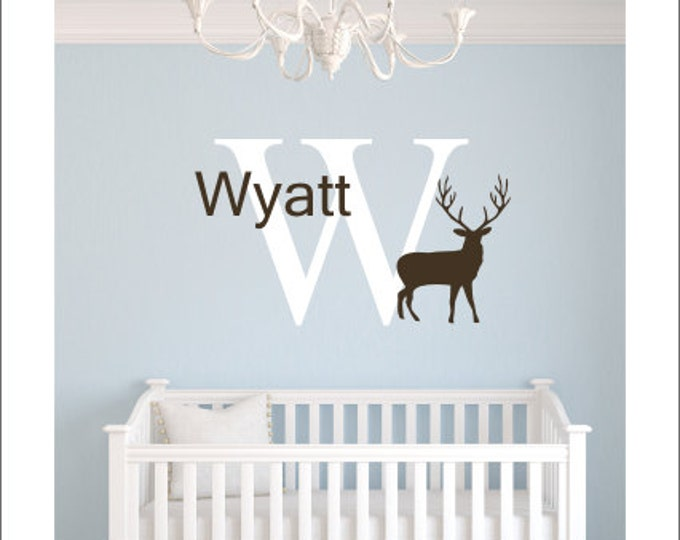 Personalized Buck Wall Decal Vinyl Decal Name Initial Buck Decal Hunting  Wall Decal Boys Hunting Decal
