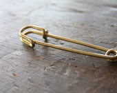 Extra Large (75mm - 3 in.) Vintage Solid Brass Kilt Pin - Great for Scarf Pins and Beading