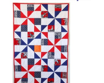 Dutch Windmills Baby Quilt - PDF pattern