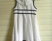 Girls Vintage Dress, Easter Dress, White Linen Dress Size 6 Linen Dress, Sleeveless Spring Dress, Navy and White Easter Dress Size 6, Girls