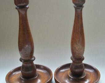 Two vintage candle sticks Wooden