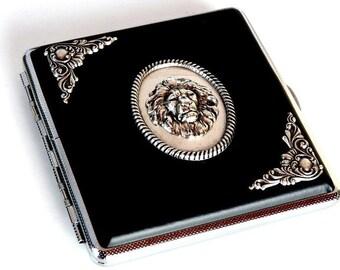 Black Cigarette Case Lion Head Case Gothic Card Case Men Cigarette Case Women Cigarette Case Gift for Men Leatherette Cigarette Case
