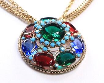 Huge Rhinestone Crystal Glass Medallion Pendant Necklace
