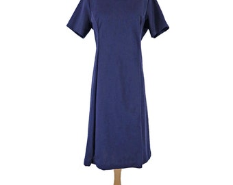 60s Blue Short Sleeve Shift Dress - lg, xl, plus
