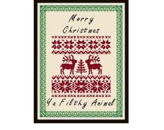 Merry Christmas Ya Filthy Animal Cross Stitch Pattern - Scandinavian Cross Stitch Pdf - Home Alone Cross Stitch Pattern - Holiday Cross S