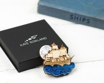 Moonlit Pirate Ship Brooch, Laser Cut Jewellery, Plywood and Acrylic Pin