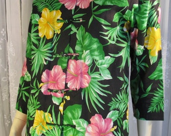 Vintage 90's Lauren Ralph Lauren tropical linen 3/4 sleeves mandarin collared tunic blouse Small