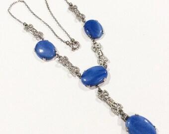 Blue Art Deco Necklace, Satin Glass, Silver 1920s Vintage Jewelry WINTER SALE