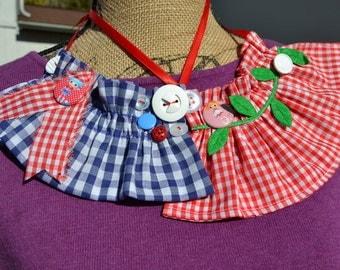 Girls Lalaloopsy Ruffle Fabric Necklace, Spot Splatter Splash red white gingham felt green leaves or Marina Anchors nautical girls gift