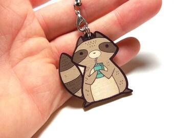 cute wooden raccoon charm 1.5 inch