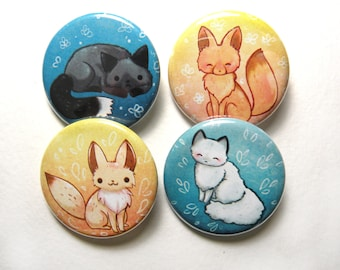 cute fox pinback button pack, fox pins,