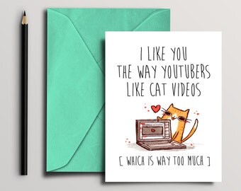 Youtube Cat Card, Instant Download, Digital Download, printable card