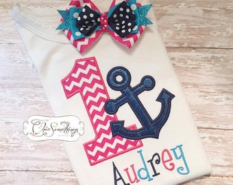pink anchor birthday shirt, first birthday shirt, nautical birthday shirt, pink and blue anchor shirt, anchor birthday, nautical birthday