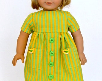 18 Inch Doll Clothes, 18 Inch Doll Dress Fits American Girl, Green & Yellow Stripe Short Sleeve Doll Dress With Pockets,  Doll Headband