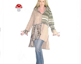"""Elf Hoodie DEPOSIT Special Order """"Desert Mirage"""" Size Large High Low Slit Side Long Tunic Blue Tan Recycled Sweater Jumper Pixie Pullover"""