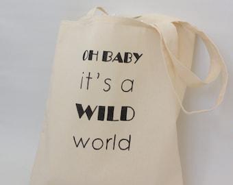 Wild world tote bag - typographic canvas tote
