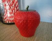 Bright Red Hazel Atlas Platonite Milk Glass Strawberry Jam Jar Canister Kix Cereal Promo