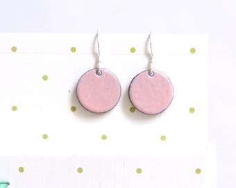 Dusky Pink Earrings - pastel pink enamel mini earrings - beautiful subltle round prom earrings - gift for her - earring gift for bestie