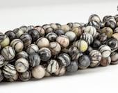 Beads - Picasso Marble gemstone beads - 6mm round beads, 7 inch strand - Destash