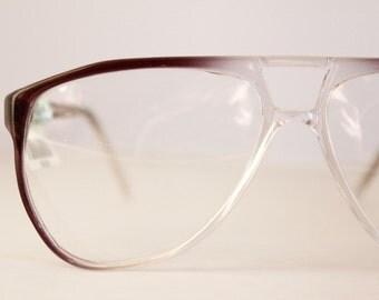 Vintage 80's Gray Fade Aviator Eyeglasses Frames