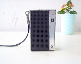 GE Transistor Radio Solid State Vintage General Electric Palm Size Radio with Wrist Strap. 70s Old School Looks Good Sounds Great