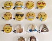 Emoji pins, magnets and zipper pulls