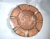 Large Ashtray Solid Hammered Copper Vintage Mystery Man 1850