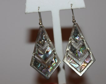 Abalone and Sterling Dangle Earrings
