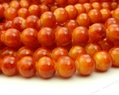 8mm Red Orange and Yellow Two Tone Round Glass Beads - Smooth, Shiny Beads - 25pcs - BN4