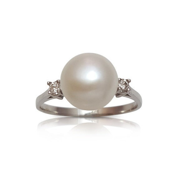 Pearl and Diamond Ring Pearl Engagement Ring Pearl and