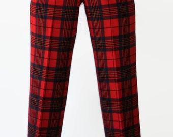 70s Pendleton Pants Plaid Tartan Red Wool Hipster Leslie Tartan