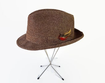 60s 70s Hopkins Hat, Fedora, Trilby, Tweed, Brown, Feathers, Hipster