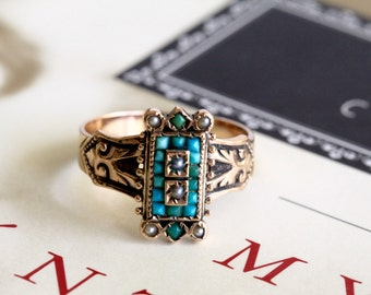 Victorian Turquoise Engagement Ring, Turquoise Pearl Victorian Ring, Rose Gold Ring, Antique Engagement Ring, Etruscan Revival, 1880s