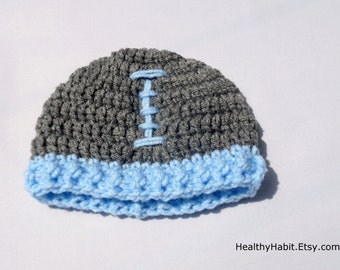 Child Football Hat, Baby Football Hat, Heather Gray Cap, Sports Photo Prop, Fall Football Season, Newborn Boy, Toddler Hat, Baby Boy Hat