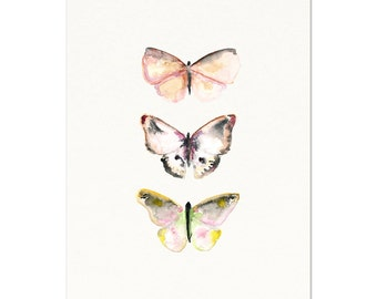 Light Pink Butterfly Art Print. Soft Pink and Gray Butterfly Art. Watercolor Butterfly Poster. Modern Nursery Art. Unique Kids Room Art.