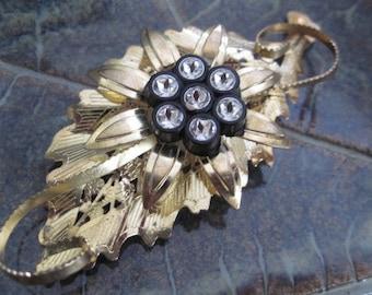 Vintage Gold Flower on Leaf Rhinestone Center Brooch