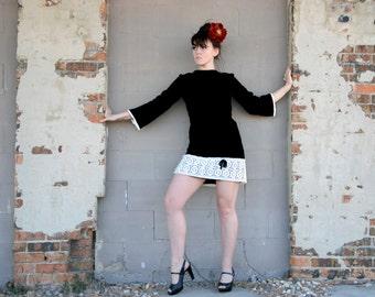 Black velvet mini dress, bell sleeves, white lace 1960s mod formal M