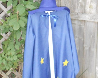 Wizard cloak and hat - blue wizards cloak with stars and pointy hat - wizard costume - warlock costume - kids merlin costume - boys costume