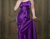 Luxury Heather Purple 100% Silk Full Length Nightie, 1930's inspired bias cut nightie, vintage style, perfect for any pinup girl, Hollywood