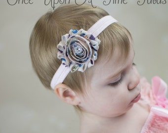 Ivory Spring Egg Shabby Flower Headband - Toddler Girls Photo Prop Hair Bow - Newborn Baby Girl Hairbow - Little Girls Easter Pastel Color