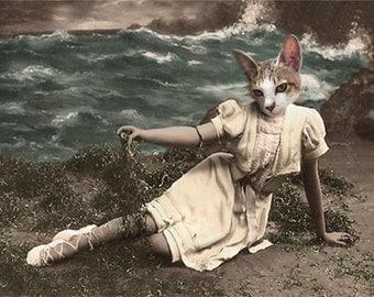 Mystic Ren, Cat Print, Anthropomorphic, Whimsical Art, Collage Art, Vintage Cat, Animal Print, Photo Collage, Altered Photo, Cat Art