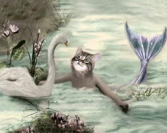 Ianthe, Vintage Cat Mermaid, Whimsical Art, Mermaid Print, Anthropomorphic Cat, Beach Decor, Fantasy Art, Unique Wall Art, Summer Artwork